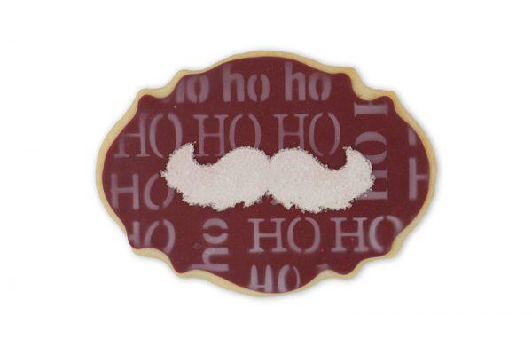 Biscuits oval avec moustache Père Noël et hohoho