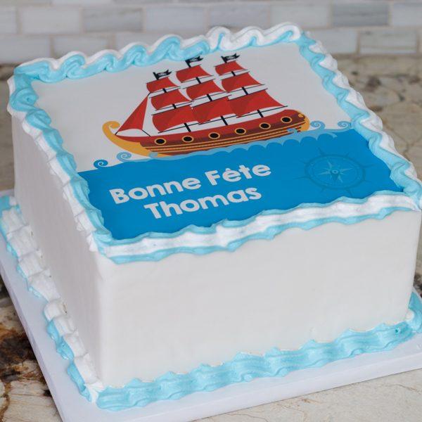 Gâteau carré anniversaire pirate