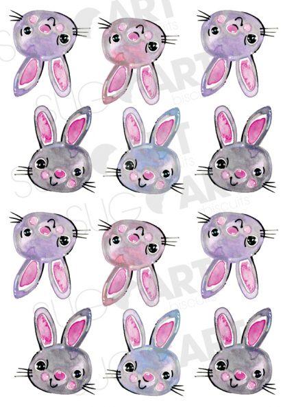 Lapin de Pâques, feuille transfert pour faire des meringues || Sugar Stamps