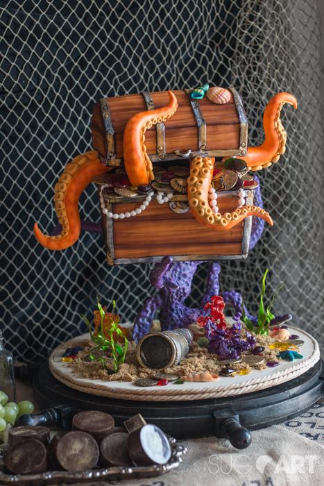 Gâteau coffre aux trésors par Le Sucre au Four