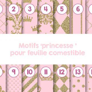 Motifs pour papiers comestibles - thématique princesse