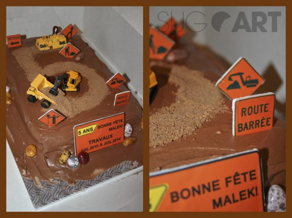 Gâteau construction avec panneaux comestibles