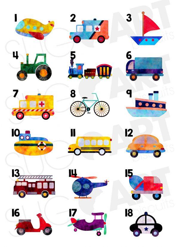 Images comestibles pour biscuits, cupcakes, meringues et gâteaux sur le thème des camions, auto et transport en général.