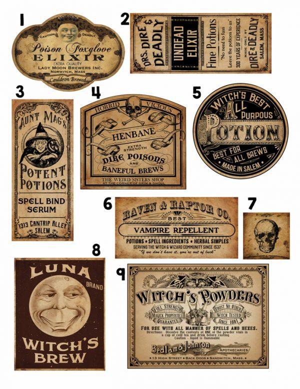 Étiquettes comestibles pour faire des bouteilles de poison pour Halloween